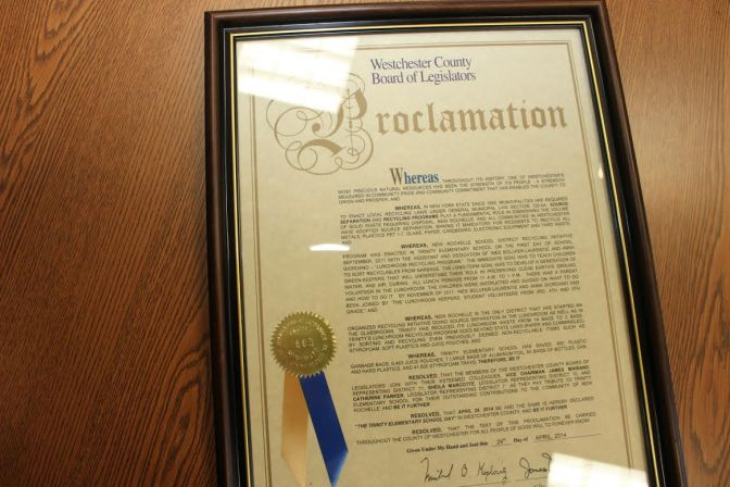 New Rochelle's Trinity School Awarded Westchester County Proclamation