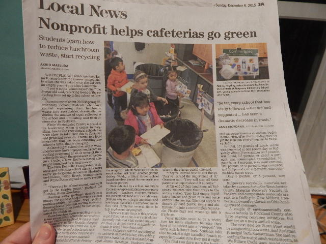 Journal News covering We Future Cycle Recycling Program at Ridgeway Elementary
