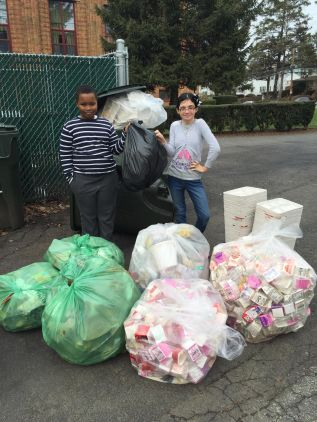 3 lbs of trash, all the rest goes into compost or recycling