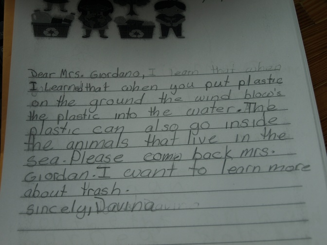 New Rochelle Jefferson's Second Grade Students Write Letters For The Environment