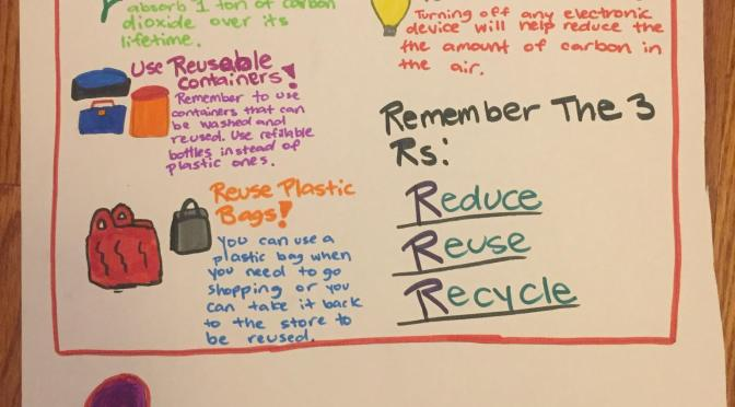 "New Rochelle Ward Elementary 4th Grader Creates ""How I can save the World"" Poster"