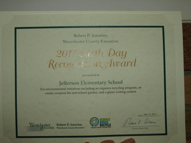 New Rochelle Jefferson School Proud Recipient Of Westchester County Earth Day Award