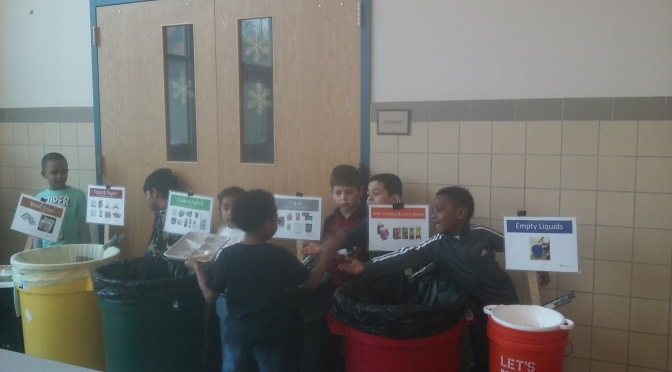 White Plains Post Rd Kindergarten Students Eagerly Helping With Recycling
