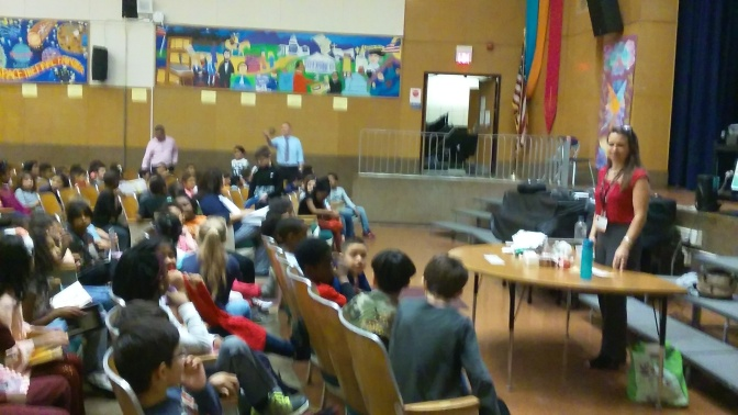 White Plains MAS students learn about  what happens to their recyclables