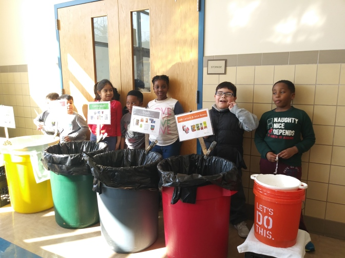 White Plains Post Rd Students working hard to support recycling