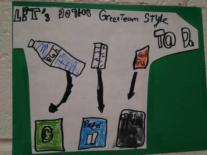 New Rochelle Ward Green Team makes recycling posters to educate the whole school